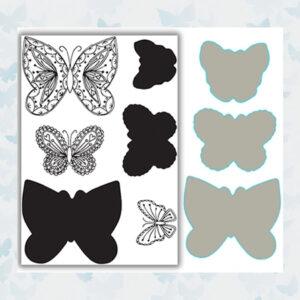 Julie Hickey Stamp & Die Set Layering Flutterbies JH-CUT-1001