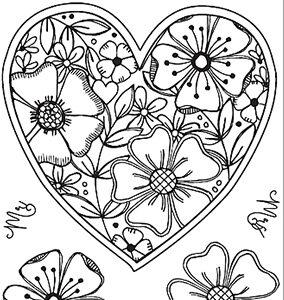 Julie Hickey Clear Stempels Fresh Florals Heart JH1028