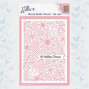 Nellie's Choice Mixed Media Stencil A6 Kleine Sneeuwvlokken MMSA6-015