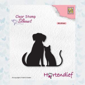Nellies Choice Clear Stempel - Silhouette Pets - Vrienden SIL093