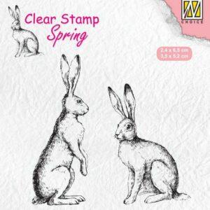 Nellie's Choice Clearstempel - Lente, Twee Hazen SPCS014