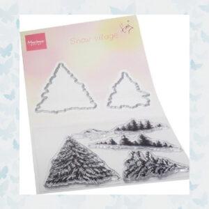 Marianne Design Clear Stempels & Snijmallen set Tiny's Sneeuw Dorp TC0887